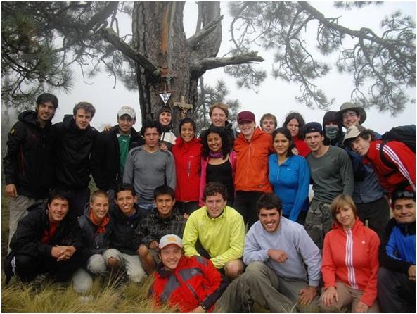 Foto de grupo en el arbol